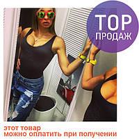 Женское летнее боди, STAR черное / боди купальник без рукавов, коттон с эластином, новинка 2017