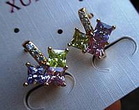 """Позолоченые серьги  с цветными фианитом """"Клевер"""" от студии LadyStyle.Biz, фото 1"""