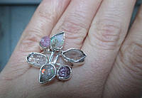 Интересное колечко с херкимерским алмазом, розовым турмалином и опалом  размер 16,5   от студии LadyStyle.Biz, фото 1