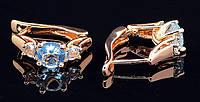 """Позолоченые серьги  с голубыми фианитом """"Аквамарин"""" от студии LadyStyle.Biz, фото 1"""