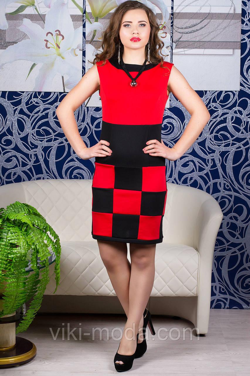 Платье Шахматка (коралл)