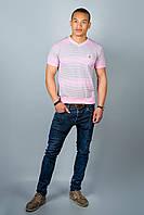 Мужская футболка (розовые полоски )