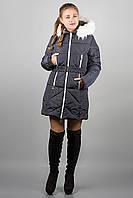 Зимняя куртка Дорри (синяя белый мех, белая отстрочка), фото 1