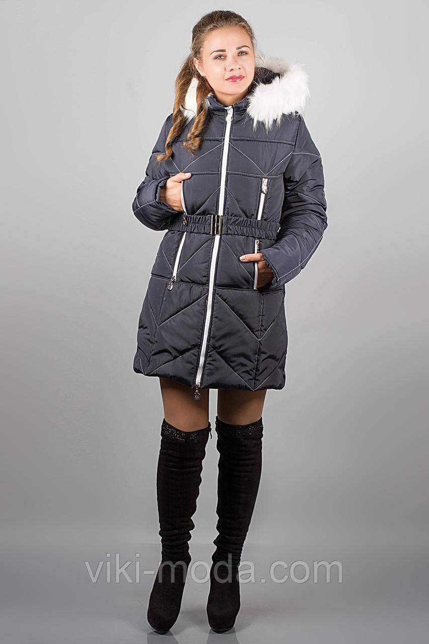 Зимняя куртка Дорри (синяя белый мех, белая отстрочка)