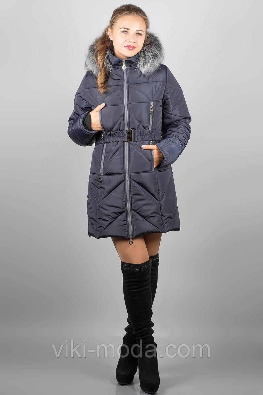 Зимняя куртка Дорри (синяя серый мех)