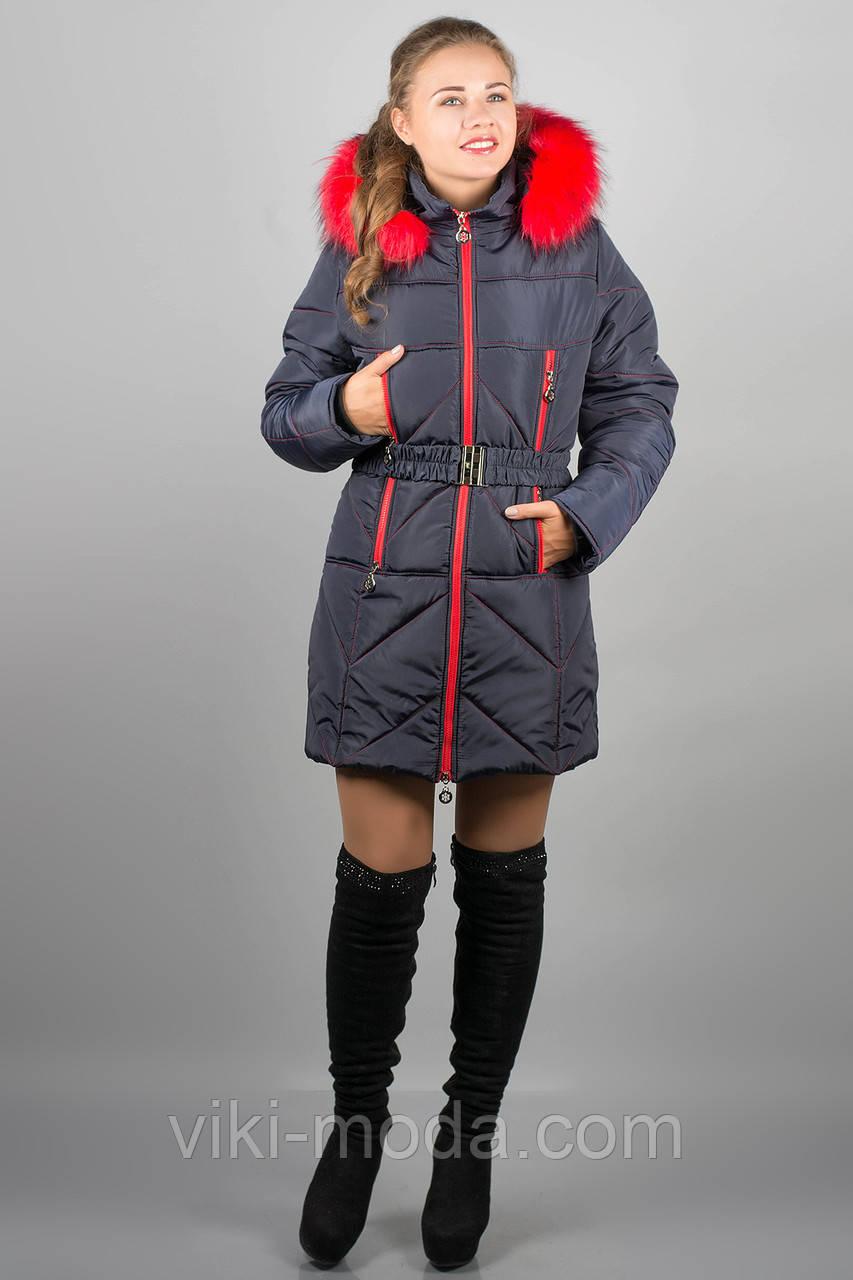 Зимняя куртка Дорри (синяя красный мех)