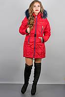 Зимова куртка Дорри (червона синій хутро)