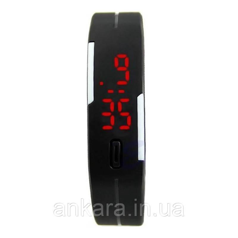 Спортивные Силиконовые  LED Часы черный