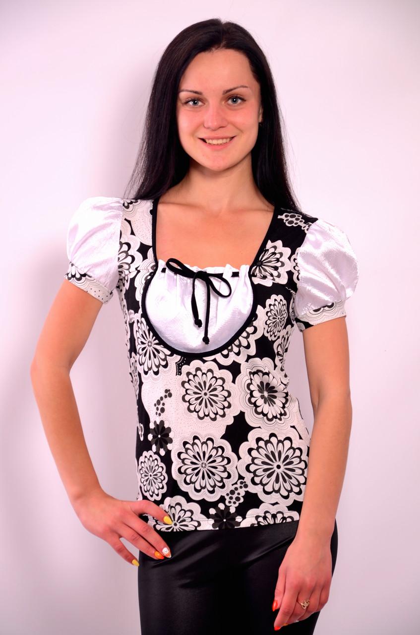 Блузка футболка черно белые цветы трикотаж хлопок бл 564546
