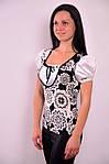Блузка футболка черно белые цветы трикотаж хлопок бл 564546, фото 2