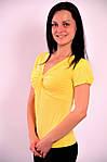 Желтая футболка с перекрутом из вискозы, Бл  574000 , фото 2