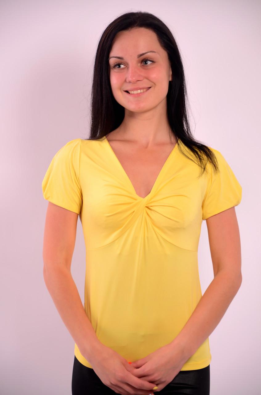 Желтая футболка с перекрутом из вискозы, Бл  574000