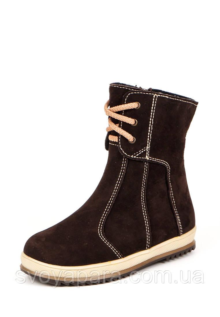 Ботинки весенне-осенние для девочек коричневые нубуковые (0381)