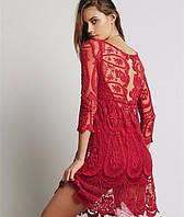 Пляжный сарафан из ажура с вышивкой красный