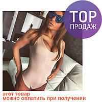 Женское боди, STAR бежевое, летнее / боди купальник без рукавов, коттон с эластином, стильный