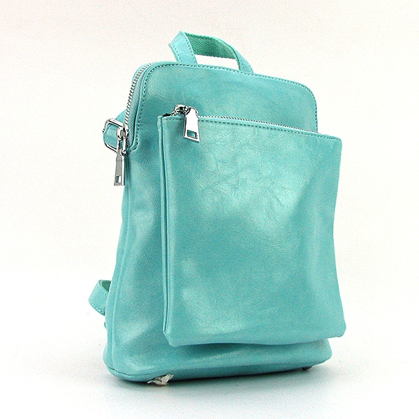 Рюкзак - сумка малая кожзам молодежная голубая 88118-13