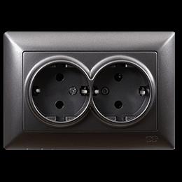 Двойная розетка с заземлением Gunsan Visage Metallic дымчатый, фото 2