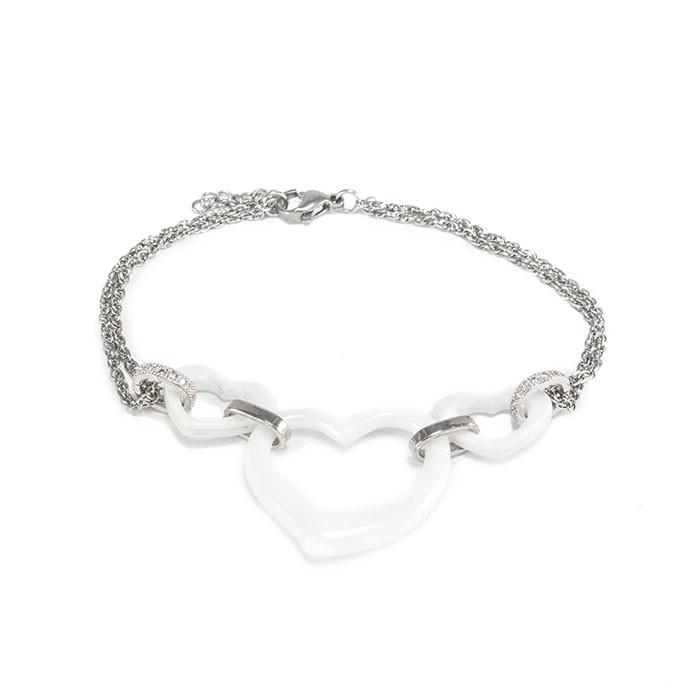 Браслет серебристая цепочка с керамическими вставками Сердечки Арт. BS091SL