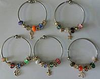1164 Жесткие браслеты стиля Пандора с золотыми подвесками