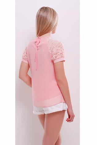 Легкая персиковая блузка с коротким гипюровым рукавом Ильва к/р, фото 2