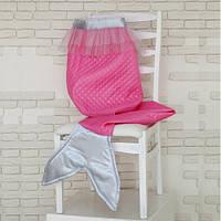 "Плед для девочки ""Русалочка"" (розовый, серый), ПВХ сумка 45*45см"