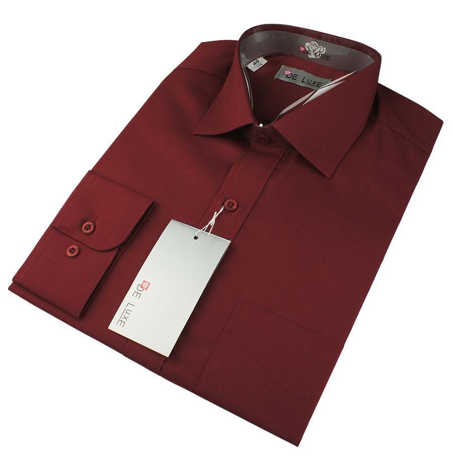 Чоловіча класична сорочка De Luxe 38-46 д/р 205D бордового кольору (довгий рукав)