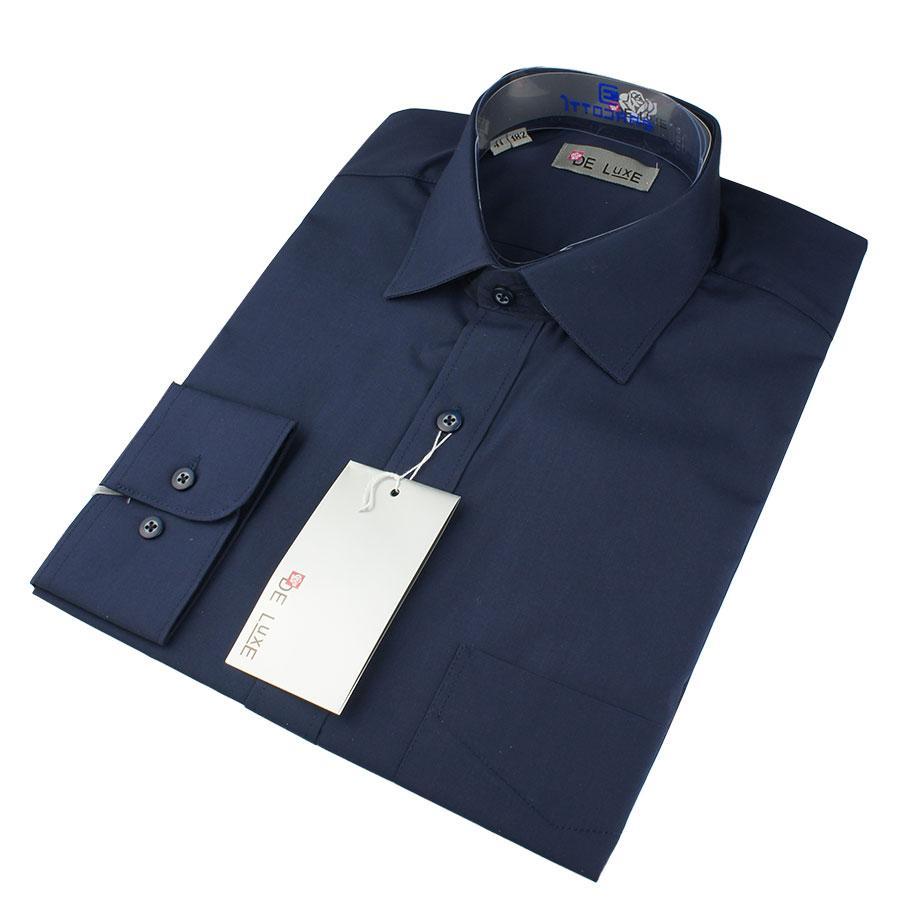 Чоловіча класична сорочка De Luxe 38-46 д/р 204D чорнильна (довгий рукав)