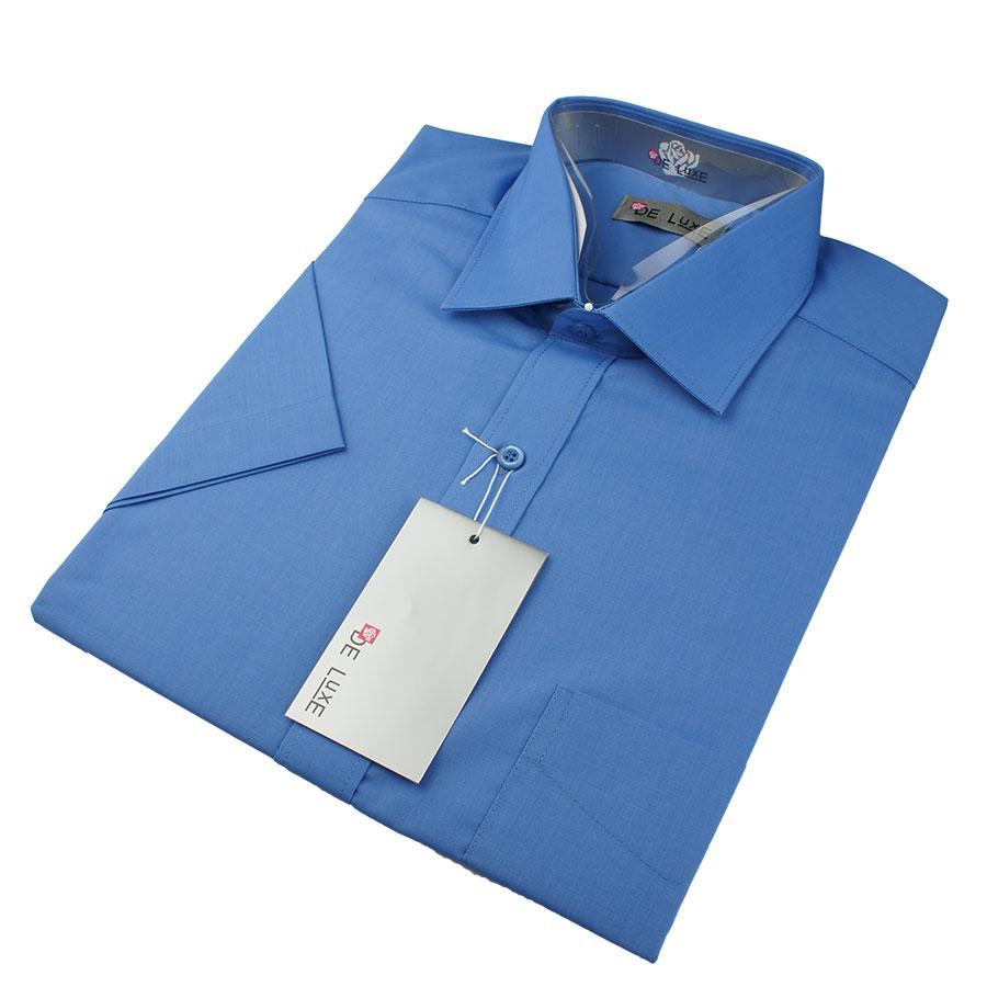 Чоловіча класична сорочка De Luxe 38-46 к/р 202К синього кольору