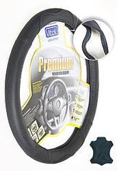 "Оплетка на руль кожа M ""Vitol""  Premium B-316-BK-M черный (усил./без запаха)"