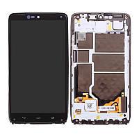 Дисплей (экран) для Motorola XT1254 Droid Turbo + с сенсором (тачскрином) и рамкой черный Оригинал