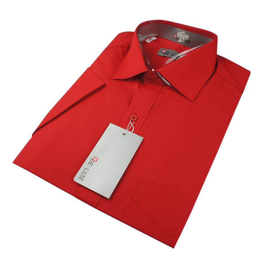 Чоловіча класична сорочка De Luxe 38-46 к/р 214К червоного кольору