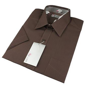 Чоловіча класична сорочка De Luxe 38-46 к/р 412К темно-коричневого кольору