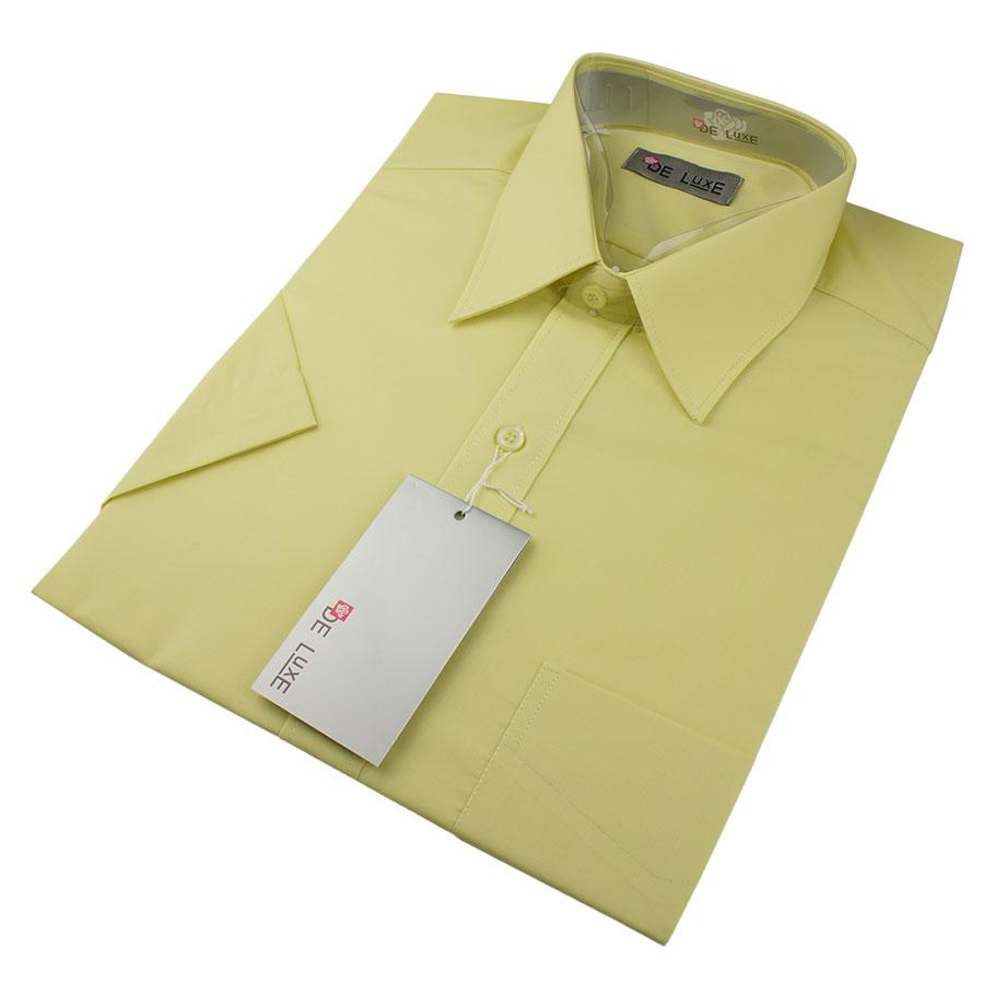 Чоловіча класична сорочка De Luxe 38-46 к/р 407aК в світло-жовтому кольорі