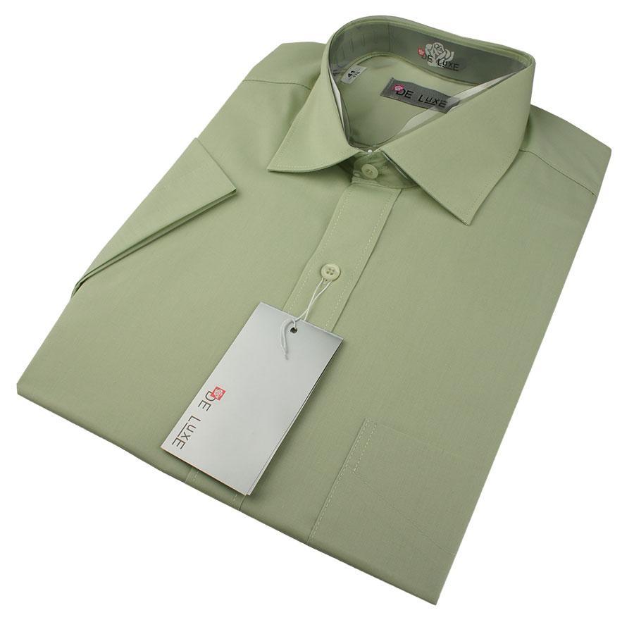 Чоловіча класична сорочка De Luxe 38-46 к/р 403K фісташкового кольору