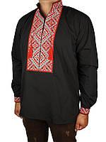 Чоловіча вишиванка Flax 024-ч Н чорна з червоною вишивкою