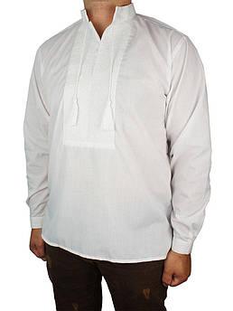Чоловіча стильна вишиванка Flax 001-ч Н білого кольору