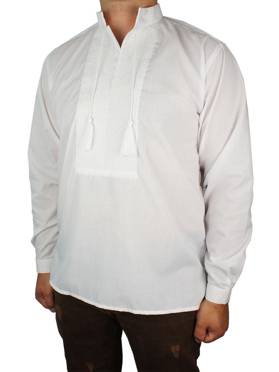 Чоловіча стильна вишиванка Flax 001-ч Н білого кольору - Магазин великих розмірів 5XL в Сумской области