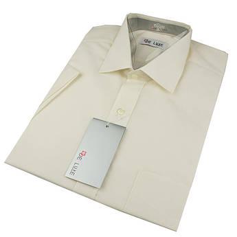 Чоловіча класична сорочка De Luxe 47-54  к/р 102К молочного кольору