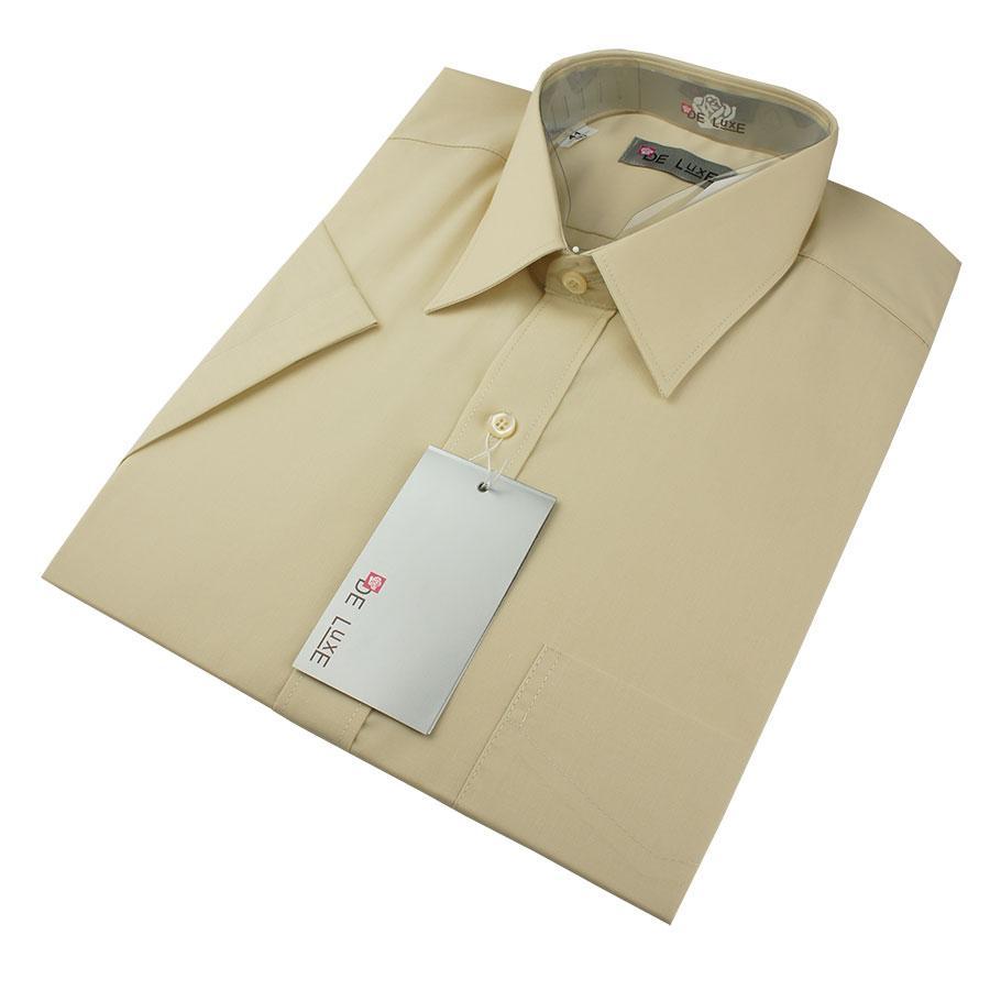 Чоловіча класична сорочка De Luxe 47-54  к/р 106К бежевого кольору