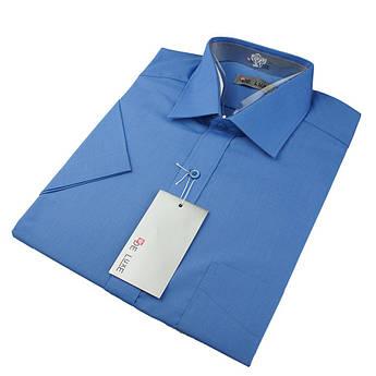 Чоловіча сорочка De Luxe 47-54  к/р 202К синього кольору