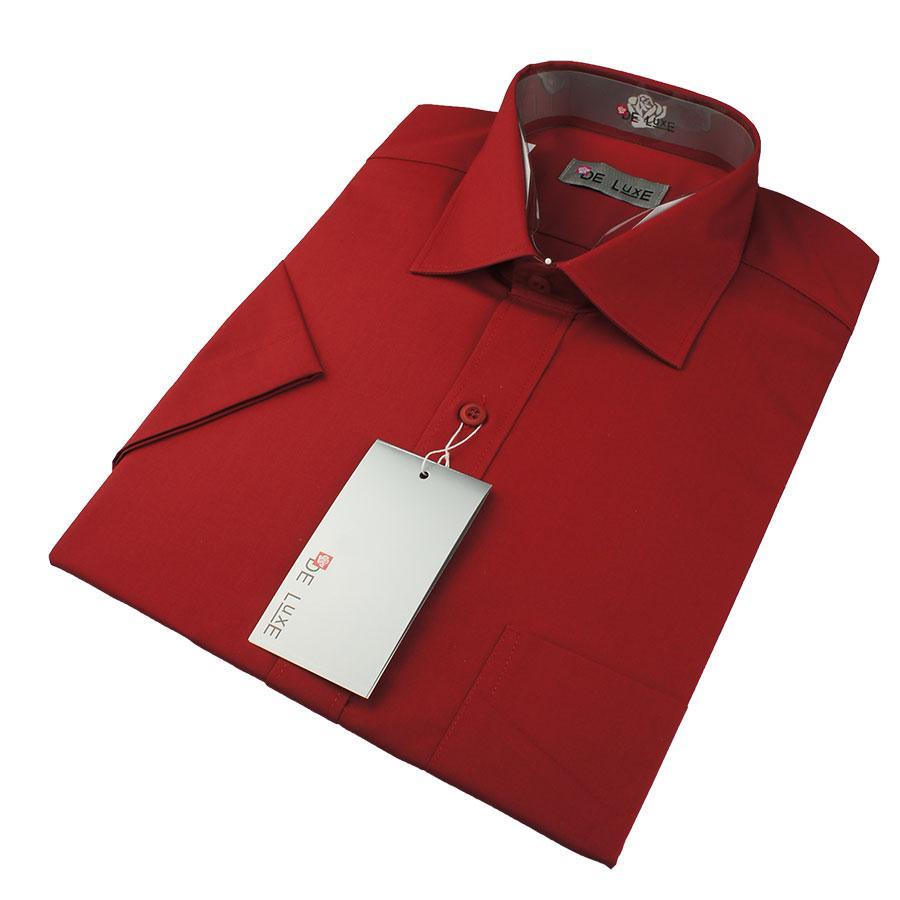Чоловіча класична сорочка De Luxe 47-54  к/р 211К вишневого кольору