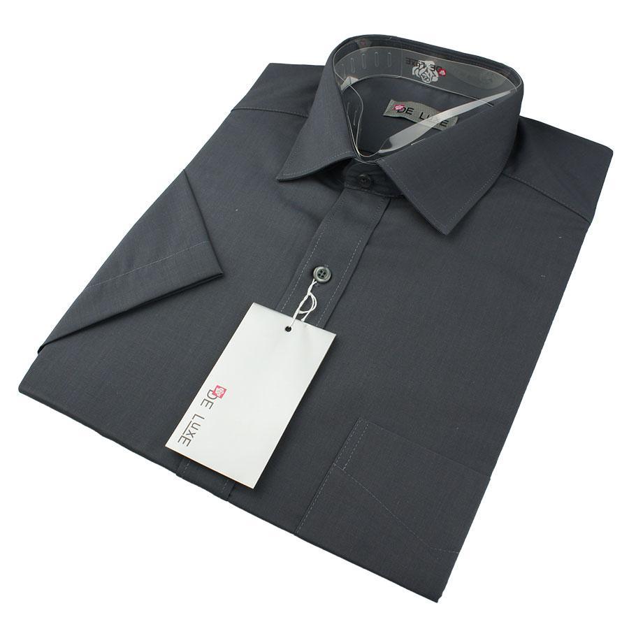 Чоловіча класична сорочка De Luxe 47-54  к/р 302К темно-сірого кольору