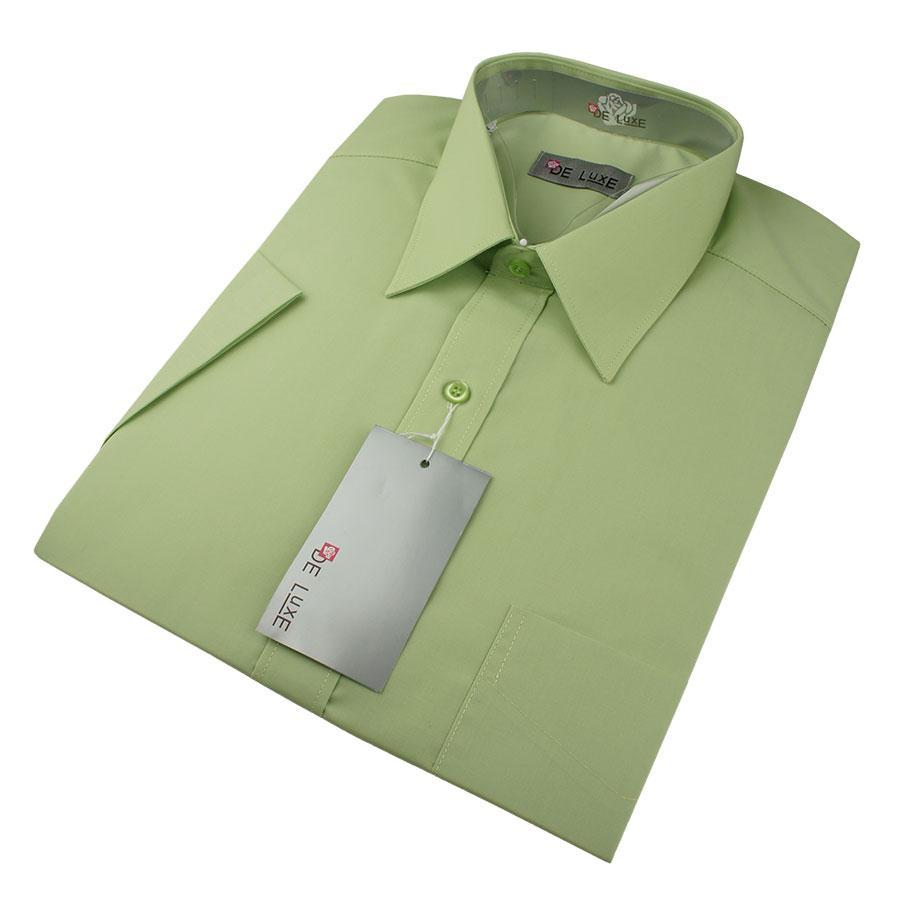 Чоловіча класична сорочка De Luxe 47-54  к/р 404К зеленого кольору
