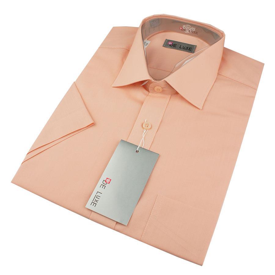 Чоловіча класична сорочка De Luxe 38-46 к/р 117aK в персиковому кольорі