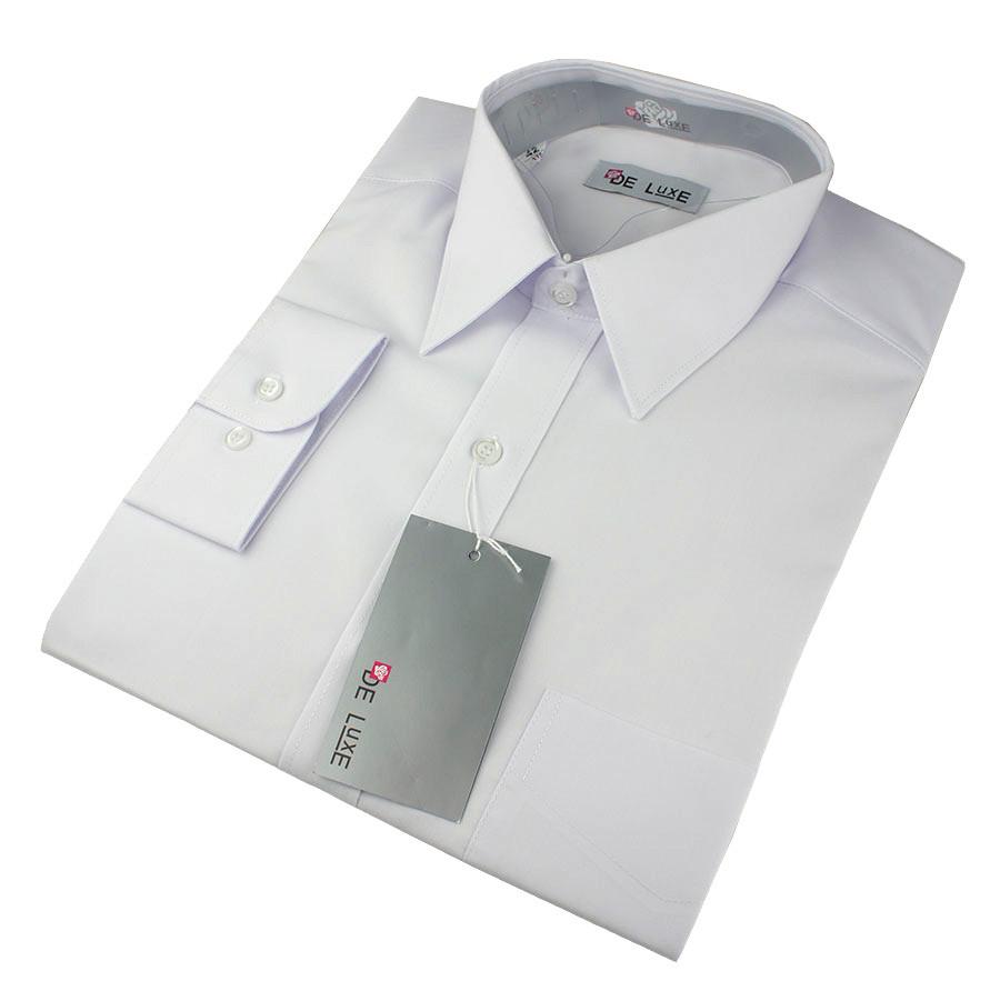 Чоловіча сорочка De Luxe 38-46 д/р 101D білого кольору