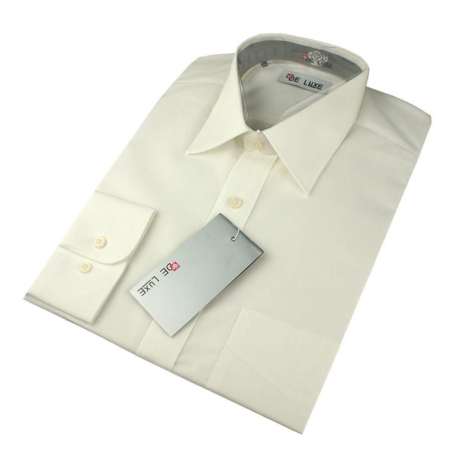 Чоловіча сорочка De Luxe 38-46 д/р 102D молочного кольору