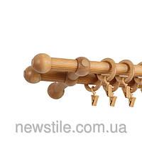 Карниз деревянный Прато Нью двойной  светлый дуб 25/25м/200СМ