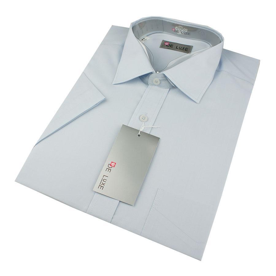 Мужская классическая рубашка De Luxe 203К светло-голубая (короткий рукав)