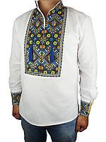 Мужская стильная вышиванка с гербом Украины  Flax 072-ч Н