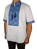 Стильная мужская вышиванка Flax 039-ч Н син. коротким рукавом